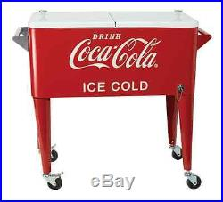 Coca Cola Metal Cooler Ice Chest, 80-qt Vintage Retro Style Christmas Gift