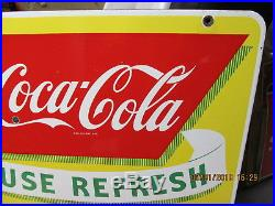 COCA COLA PORCELAIN DOUBLE SIDED 50s FOUNTAIN SIGN 25x28 SUPER RARE 1 OF A KIND
