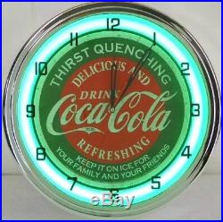 Coca Cola 15 Neon Wall Clock Lighted Distressed Sign Soda Pop Shop Coke Bottle