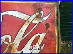 Coca Cola 1932 Porcelain Enamel Sign Delicious Refreshing Man Cave Rusty Gold
