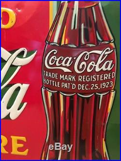 Coca Cola 1932 Soda Pop Sign with 1923 Bottle and Rare Green Background