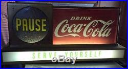 Coca Cola, 1950's Pause, Serve Yourself, Light up sign