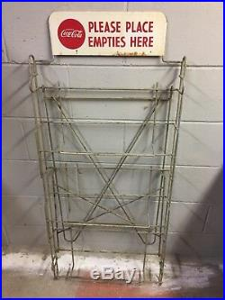 Coca Cola 1960s Wood Crates, Folding Empties Bottle Return Rack Stand with Sign