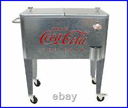 Coca-Cola 60 Qt Embossed Galvanized Rolling Cooler Ice Chest Officially Licensed