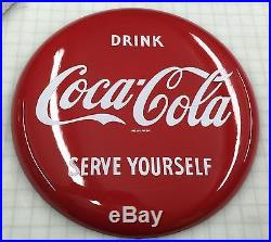 Coca Cola Button Sign Porcelin 16 Inch Minty Gas Oil Station No Reserve