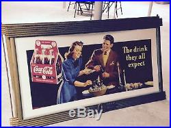 Coca Cola Coke Cardboard Poster Litho Display Sign with Kay Frame 6 Pack