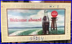 Coca Cola Coke Cardboard Sign 1960 36x20 NOS Welcome aboard nautical sailing