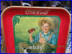 Coca Cola Coke Tray 1931 Orig Boy & Dog Rockwell American Art Works Not A Repro