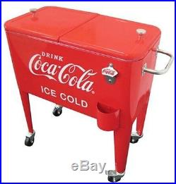 Coca-Cola Cooler 60 Qt. Ice Cold Retro Red Metal Rolling Wheels Party BBQ NEW