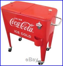 Coca-Cola Cooler Outdoor Camping Stainless Steel Plated 60 Qt. Retro (Ice Cold)
