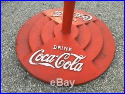 Coca Cola Lollipop Porcelain Sign Button with Base Made in 1939 Heavy Duty