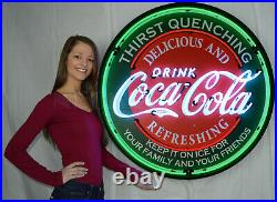 Coca-Cola Neon sign 36 in steel enclosure Pop lighted sign wall lamp light