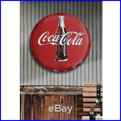 Coca-Cola Round Hollow Curved Tin Button Wall Sign 24 In Tin Metal Advertising