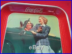 Coca-Cola Tray The Two Girls at Car 1942 MINT Original LOOK AT THIS