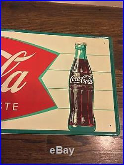 Coca Cola VINTAGE FISHTAIL TIN METAL SIGN GORGEOUS UNHUNG beautiful! 30 LAST 1