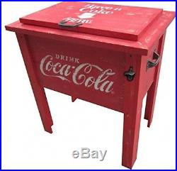 Coca Cola Vintage Barn Board Wood 54-Qt Ice Cooler Chest Box Officially Licensed