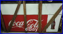 Coca Cola large 2 sided porcelain sign all original in original crate near mint