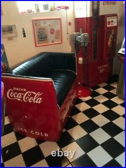 Coca cola couch made from a coca cola cooler