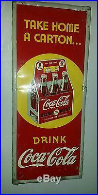 Coca cola sign old vintage take a carton home 6 pack