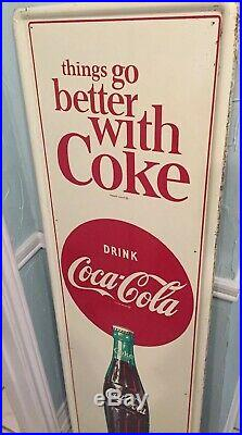 Drink Coca Cola Ice Cold 1960s Vertical Bottle Advertising Soda Sign Things Go