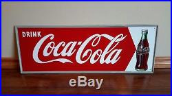 Drink Coca-Cola arrow Sign metal with Coke bottle N. O. S. Condition 50s 60s MCA