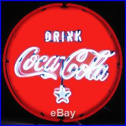 Drink Cold Coca Cola Round Button neon sign on metal grid Coke Soda lamp light