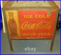 EARLY VINTAGE COCA COLA COOLER ON LEGS With LITHOGRAPHIC TIN PANELS & ORIGINAL