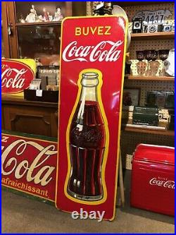 HUGE 1951 Coca Cola Bottle Wall Sign by St Thomas Metal sign co