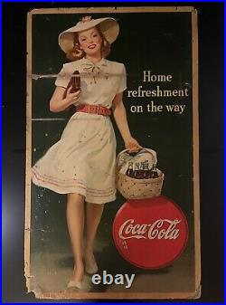 LARGE Original 1945 Coca Cola Home refreshment on the way Cardboard Sign/Ad