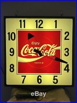 LARGE VINTAGE ENJOY COCA COLA LIGHTED CLOCK withNEW BULBS/BALASTS 36x36 WORKS