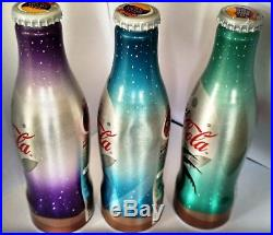 LOT 3 BOTTLES Aluminium DIET COCA COLA LIMITED EDITION STAR AND MOON CLOSE NEW