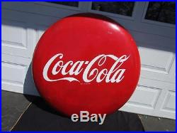 Large 1950's Coca-Cola Button Sign 48 Great Condition