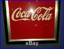 Large 54x18 original 1947 Coca Cola nice metal sign with yellow moon gas oil