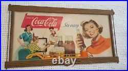 Large Coca Cola Cardboard advertising sign with Frame. Very rare! 1930's