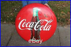 Large Vintage 1950's Drink Coca Cola Button Soda Pop 36 Curved Metal Sign