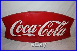 Large Vintage 1962 Coca Cola Fishtail Soda Pop Gas Station 43 Metal SignNice