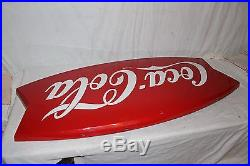 Large Vintage 1964 Coca Cola Fishtail Soda Pop Gas Station 42 Metal SignNice
