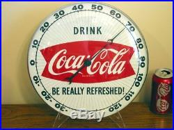 MINTY Coca-Cola PAM Fishtail 12 Round Wall Thermometer Sign