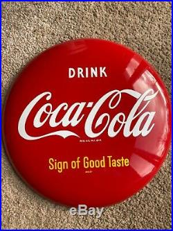 Minty NOS 12 inch Coca Cola button sign SOGT