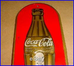 NICE 1938 Vintage COCA COLA Old 1923 Christmas Gold Bottle Tin Thermometer Sign
