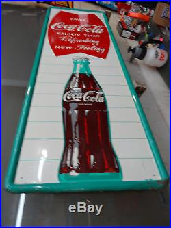 Nice Old Drink Coca Cola Fishtail Sign 1959