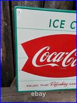 NOS 1950s Coca Cola Fishtail Sign. 28inx20in. Near Mint! Painted Metal