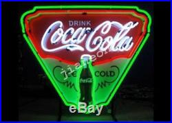 New Ice Cold Coca Cola Soda Drink Shop Shield REAL NEON SIGN Beer Bar LIGHT