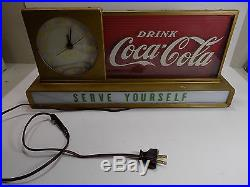 Nice Vintage Working Coca Cola Clock 1950's Price Brothers Drug Store Counter