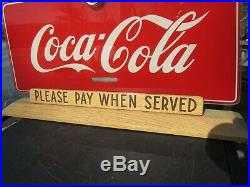 ORIGINAL 1940's GLASS REVERSE PAINTED COCA COLA COUNTERTOP SIGN PRICE BROTHERS
