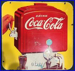 ORIGINAL 1940s DOUBLE SIDED PORCELAIN COCA COLA SODA FOUNTAIN HANGING SIGN