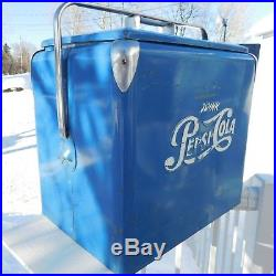 ORIGINAL VINTAGE 1950's PEPSI COLA PICNIC COOLER ICE CHEST PROGRESS WithTRAY SIGN