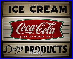Old 1960s Light Up Coca-Cola Ice Cream Dairy Country Store Advertising Sign NR