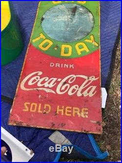 Old Coca Cola Tin Not Porcelain Chalkboard Gas Today Service sign Rare! 48 X 16