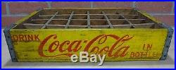 Old DRINK COCA-COLA Wooden Case Box Yellow Red COKE Soda Adv Sign 24 Crate
